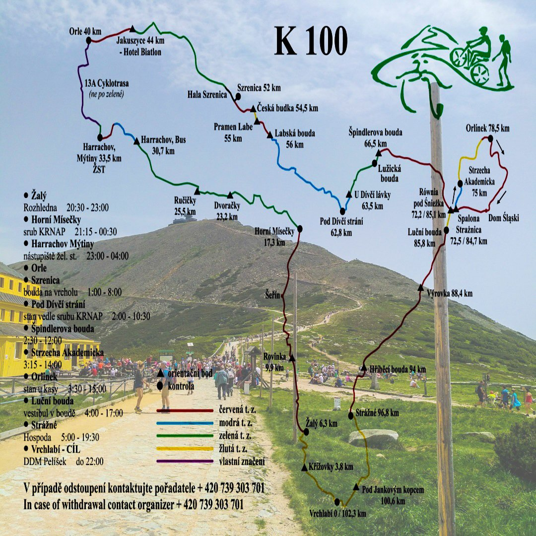 Krakonošova 100, mapa trasy